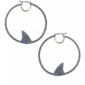 kate spade Jewelry - New Kate Spade Silver and Blue Pave Shark Earrings